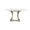 "Gage Dining Table - 60"" - Polished White Mar"
