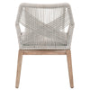 Loom Arm Chair (Set of 2) in Taupe & White Flat Rope