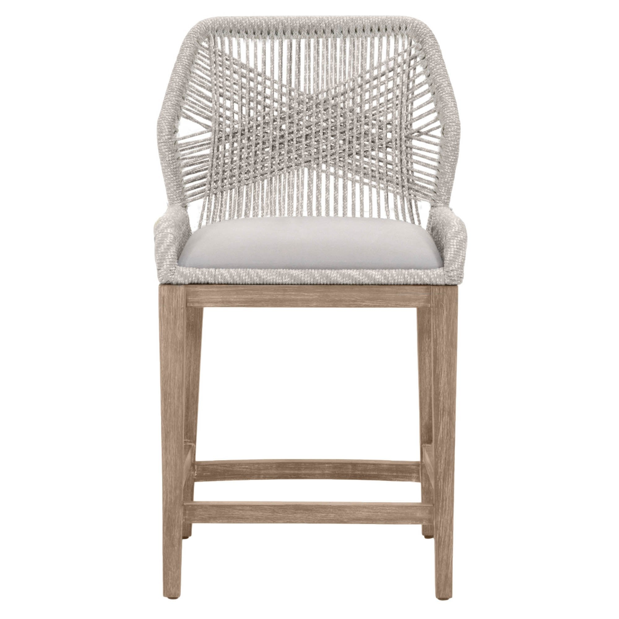 Loom Counter Stool in Taupe & White Flat Rope