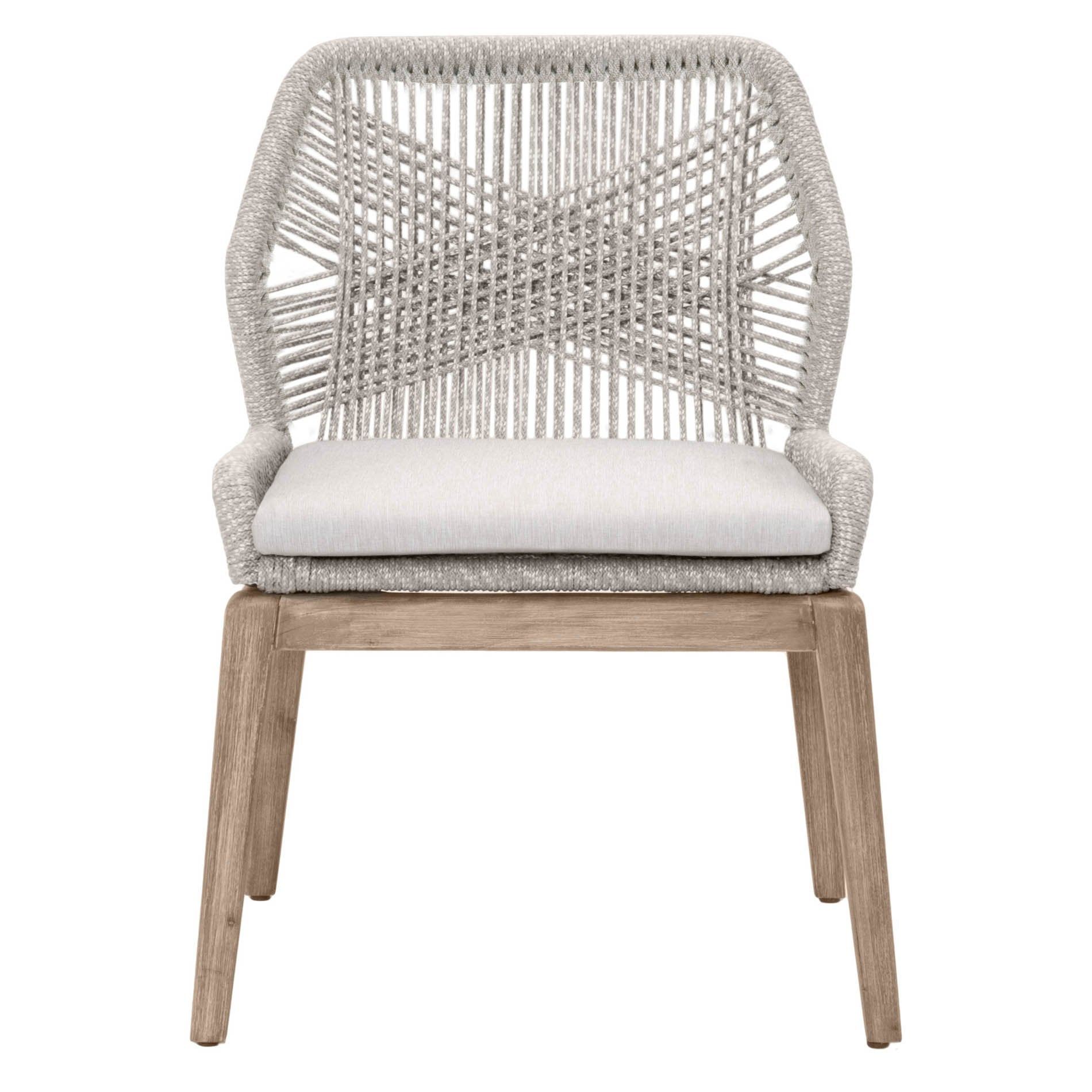 Loom Dining Chair (Set of 2) in Taupe & White Flat Rope