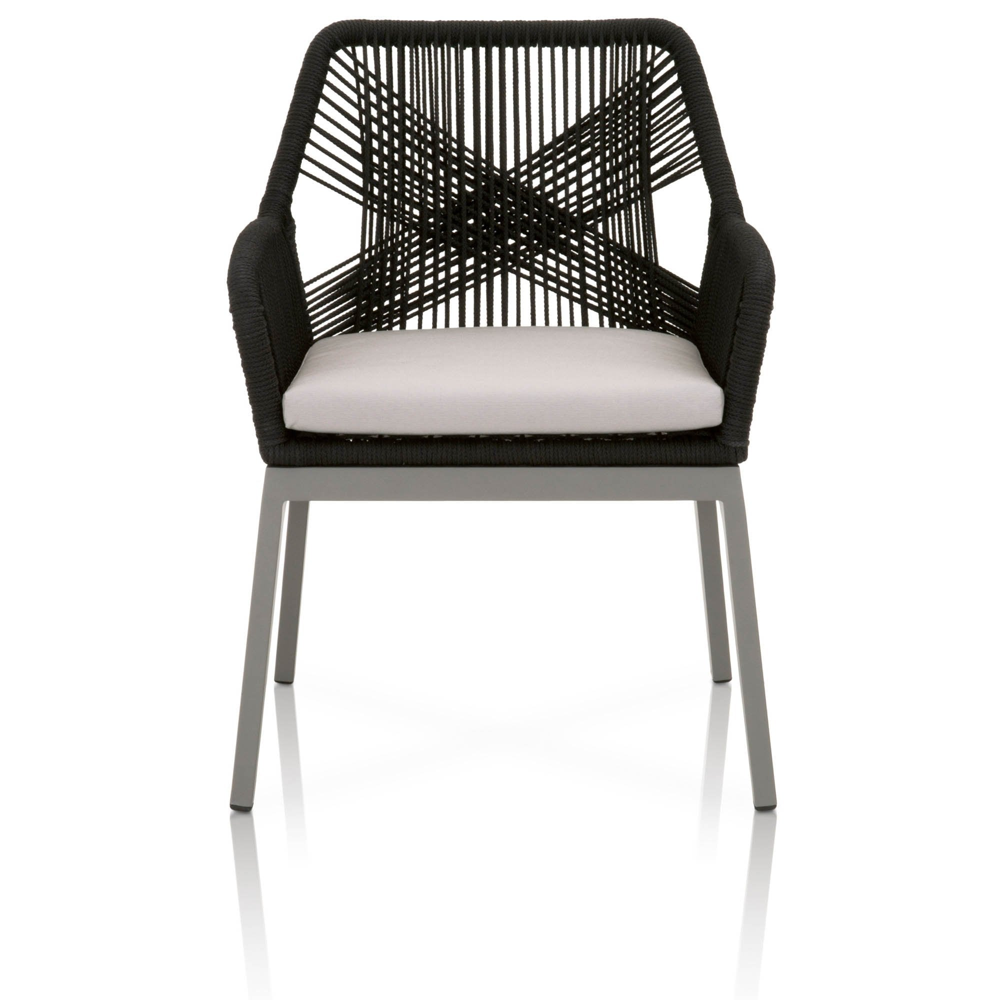 Loom Outdoor Arm Chair (Set of 2) in Black