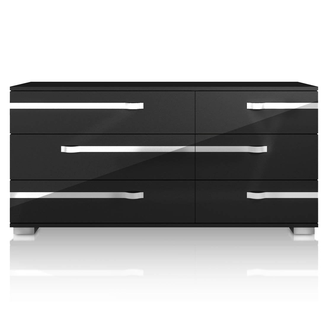 Lustro Double Dresser in Black High Gloss Chrome Foil Trim