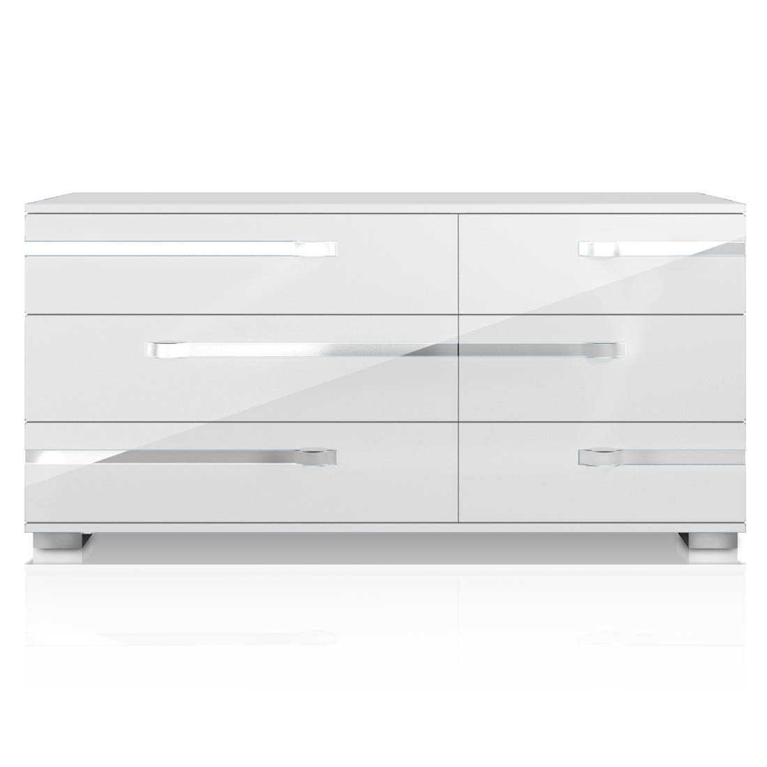 Lustro Double Dresser in White High Gloss Chrome Foil Trim