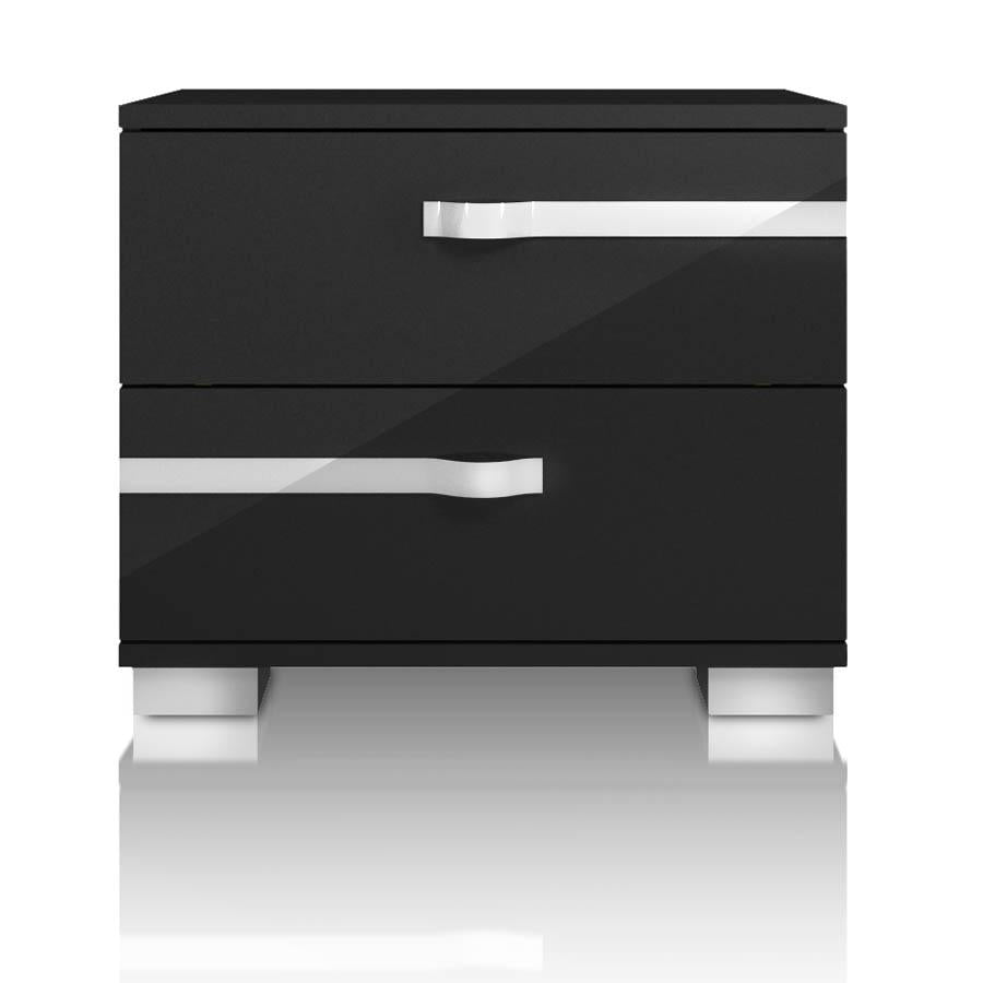 Lustro Nightstand in Black High Gloss Chrome Foil Trim
