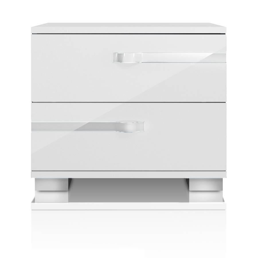 Lustro Nightstand in White High Gloss Chrome Foil Trim