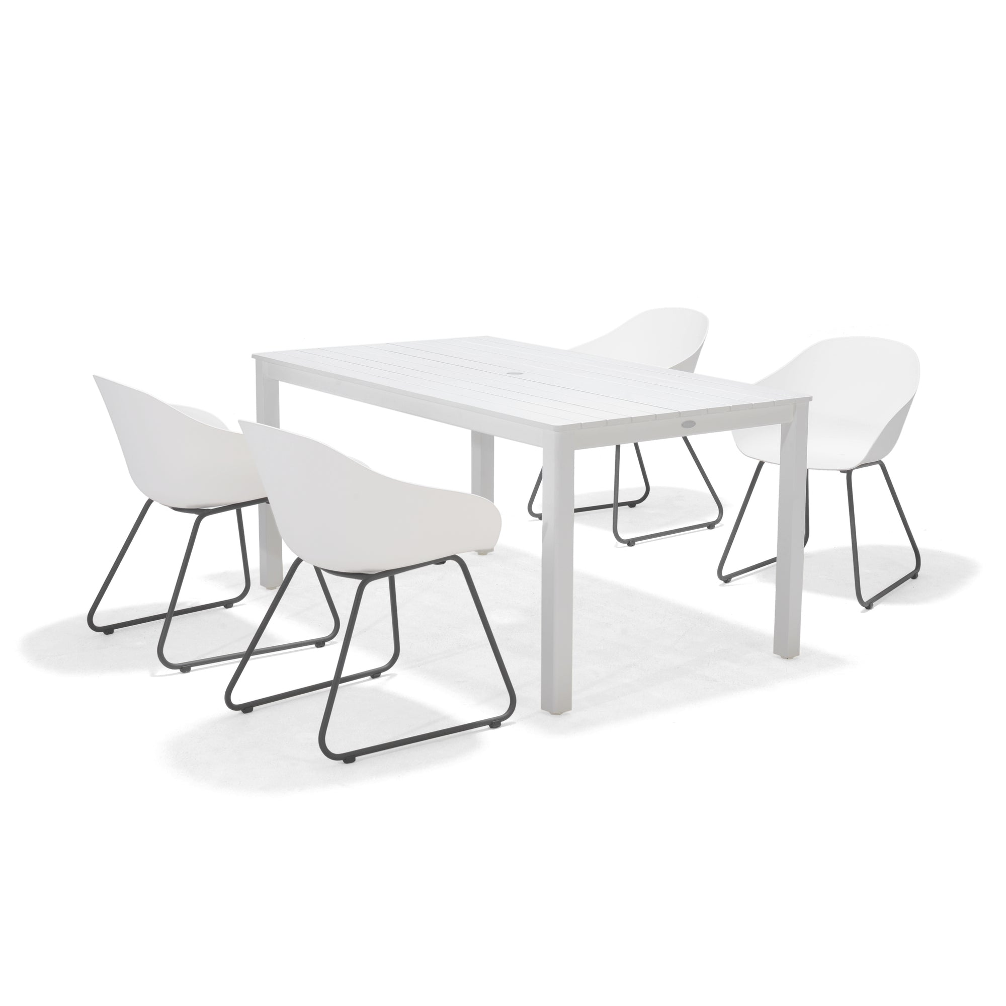 Normandy White 5-Piece Outdoor Dining Set