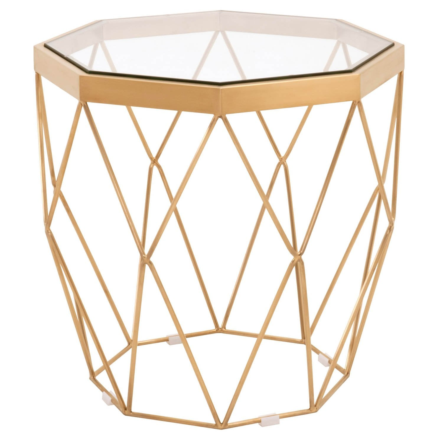 Origami End Table in Brushed Gold