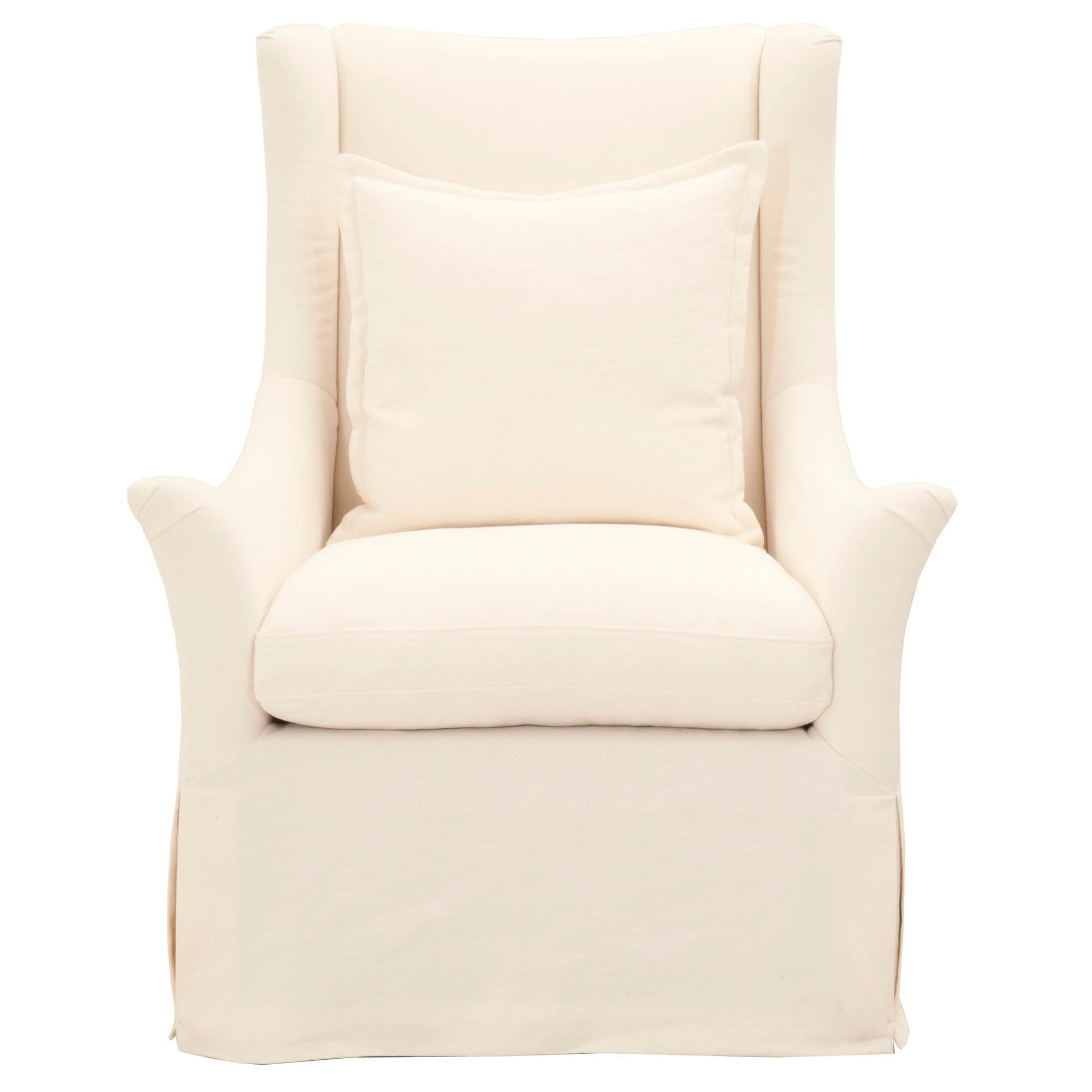Otto Slipcover Swivel Club Chair in Creme Crepe