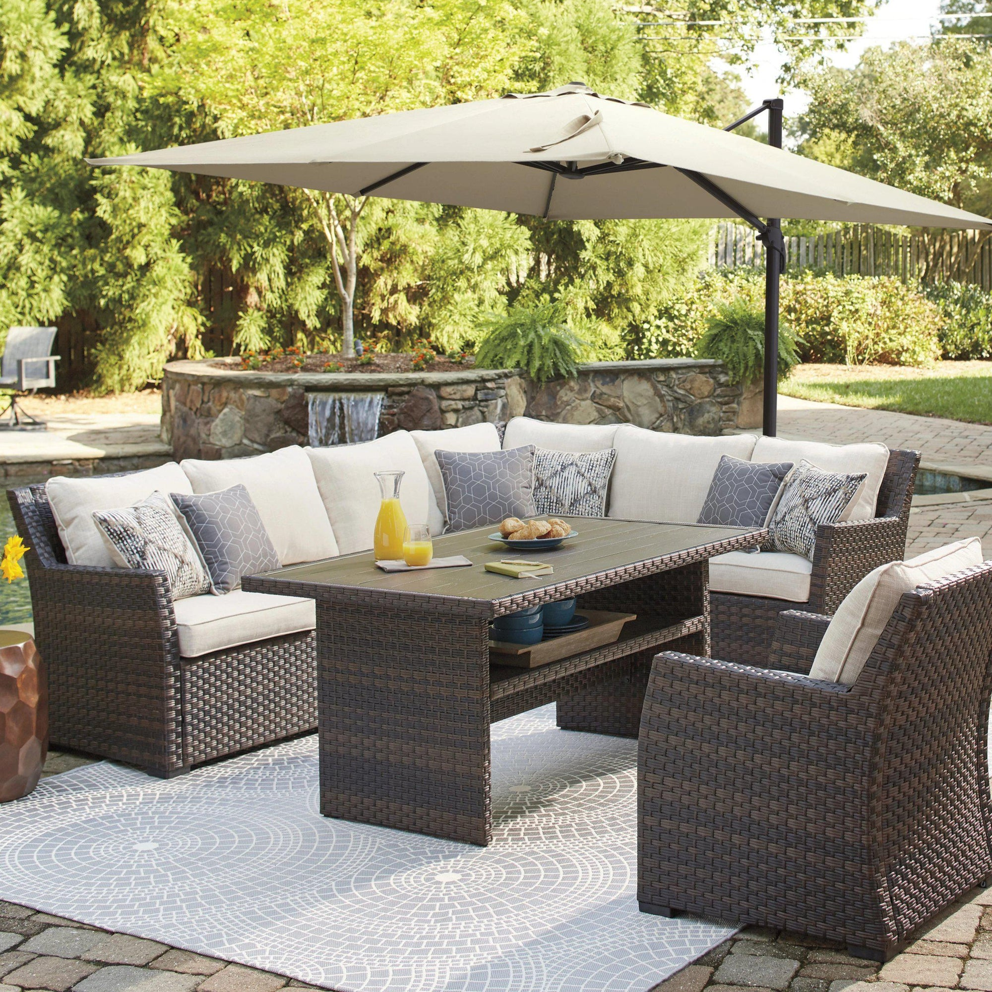 Sausalito 4-Piece Outdoor Comfy Banquette Seating Set