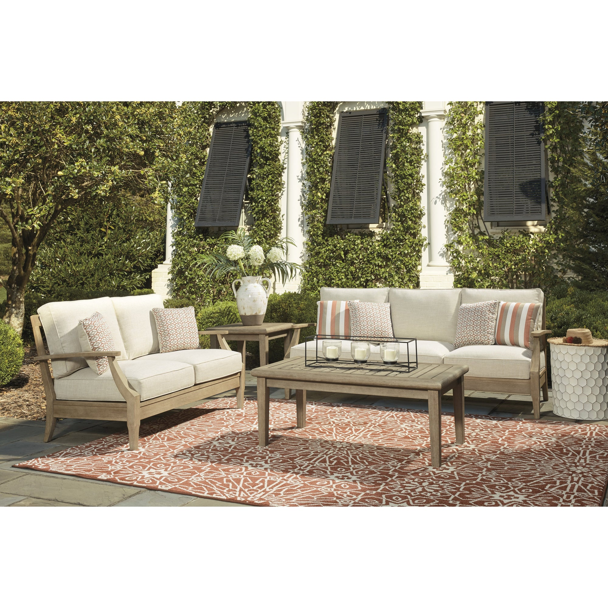 Dune Walk 3-Piece Outdoor Deep Seating Set (Sofa, Loveseat, Slatted Coffee Table)