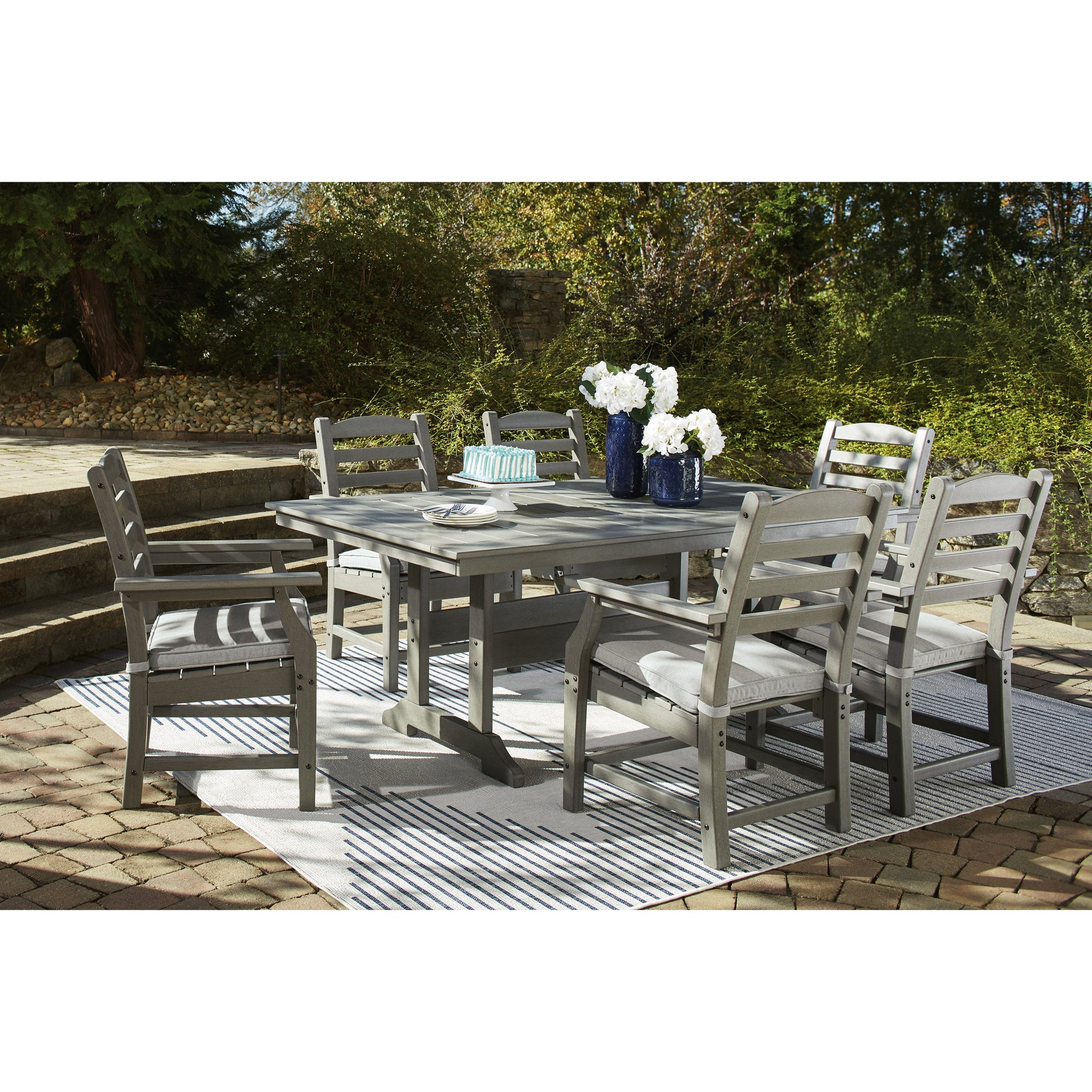 poly-outdoor slatted dining set