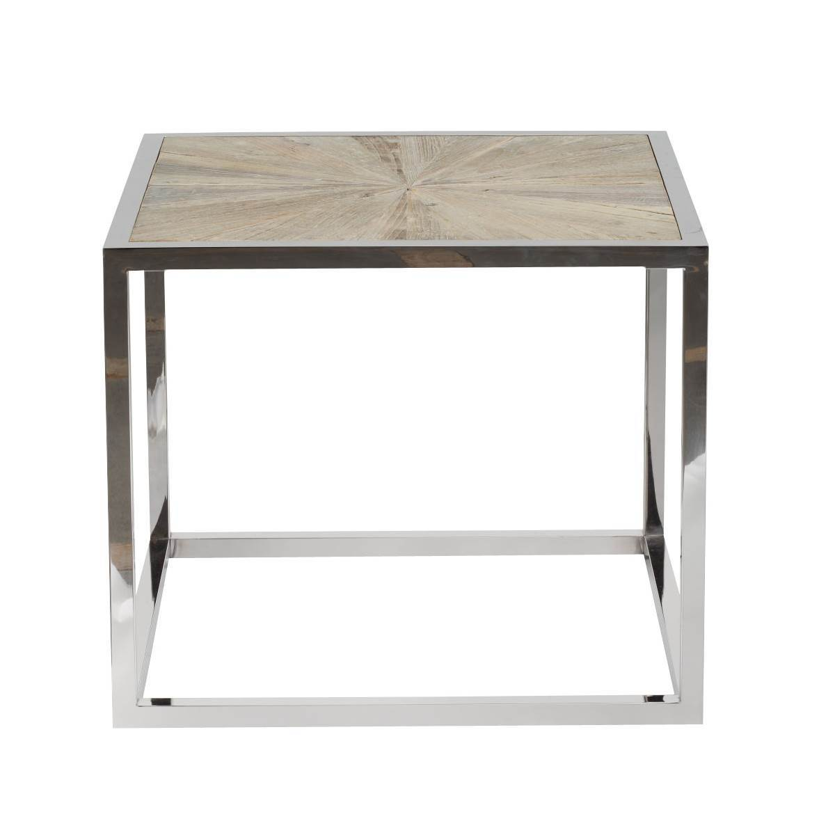 Parquet End Table in Smoke Gray Elm