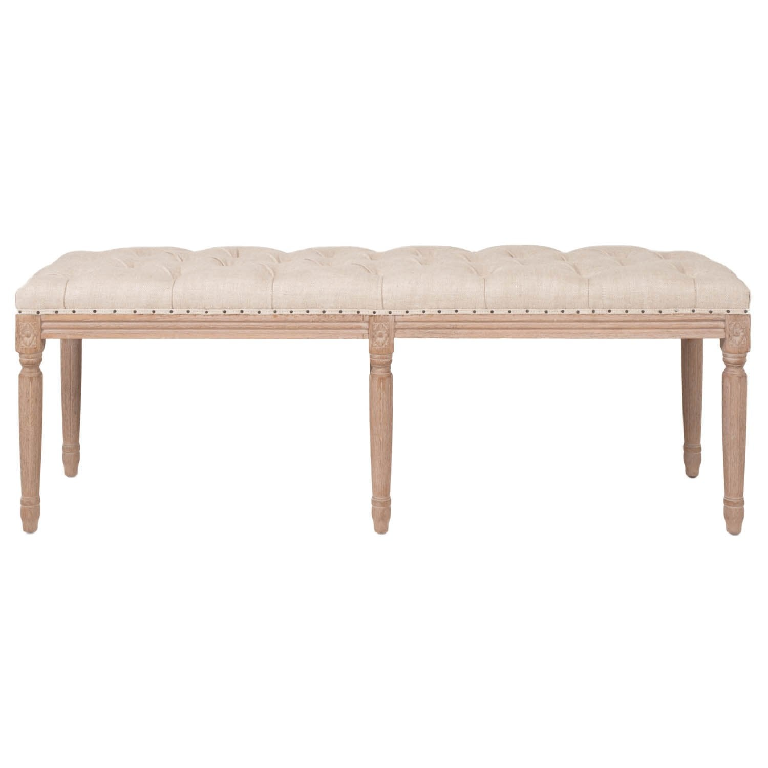 Rennes Upholstered Bench in Bisque French Linen
