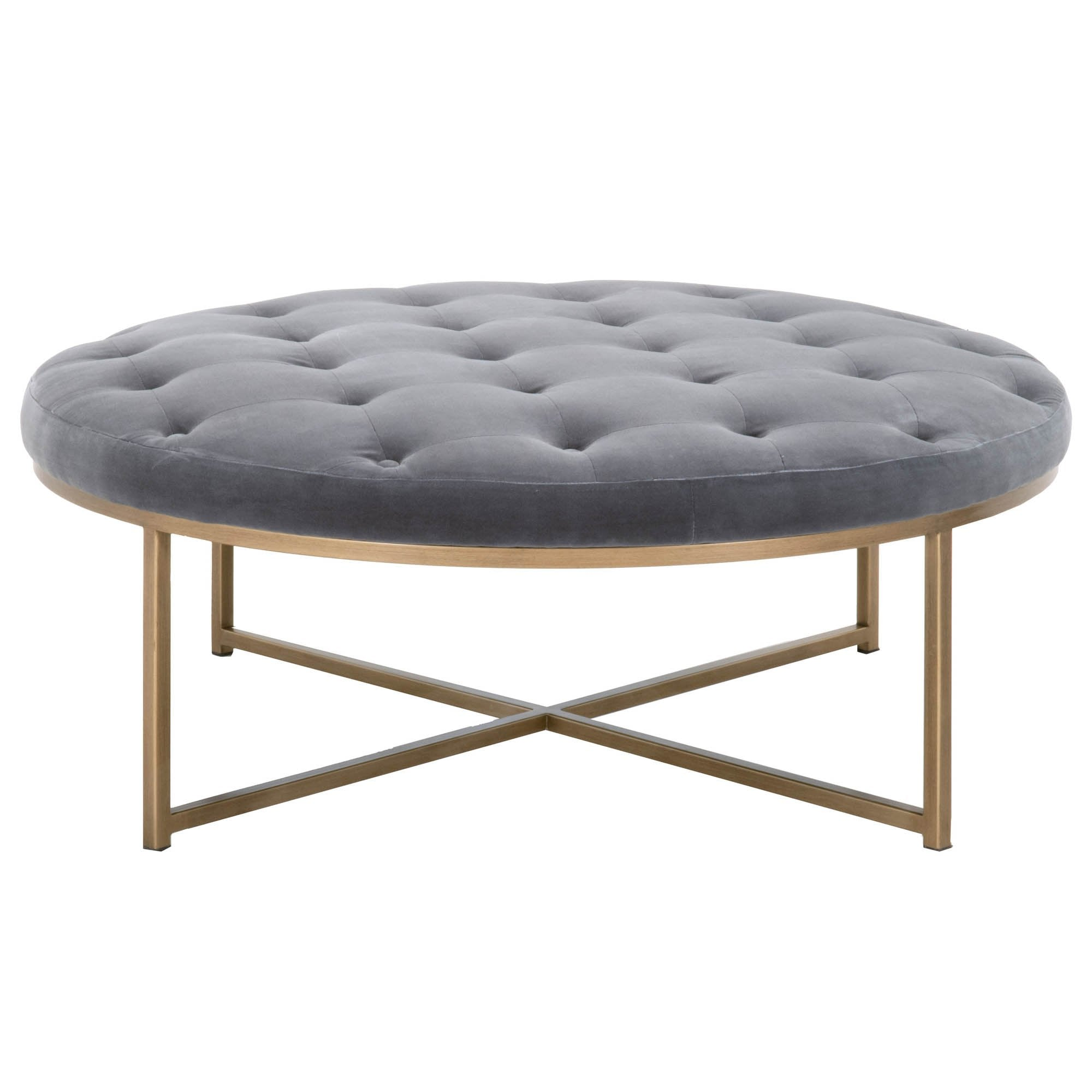 Rochelle Upholstered Coffee Table in Blush Gray Velvet