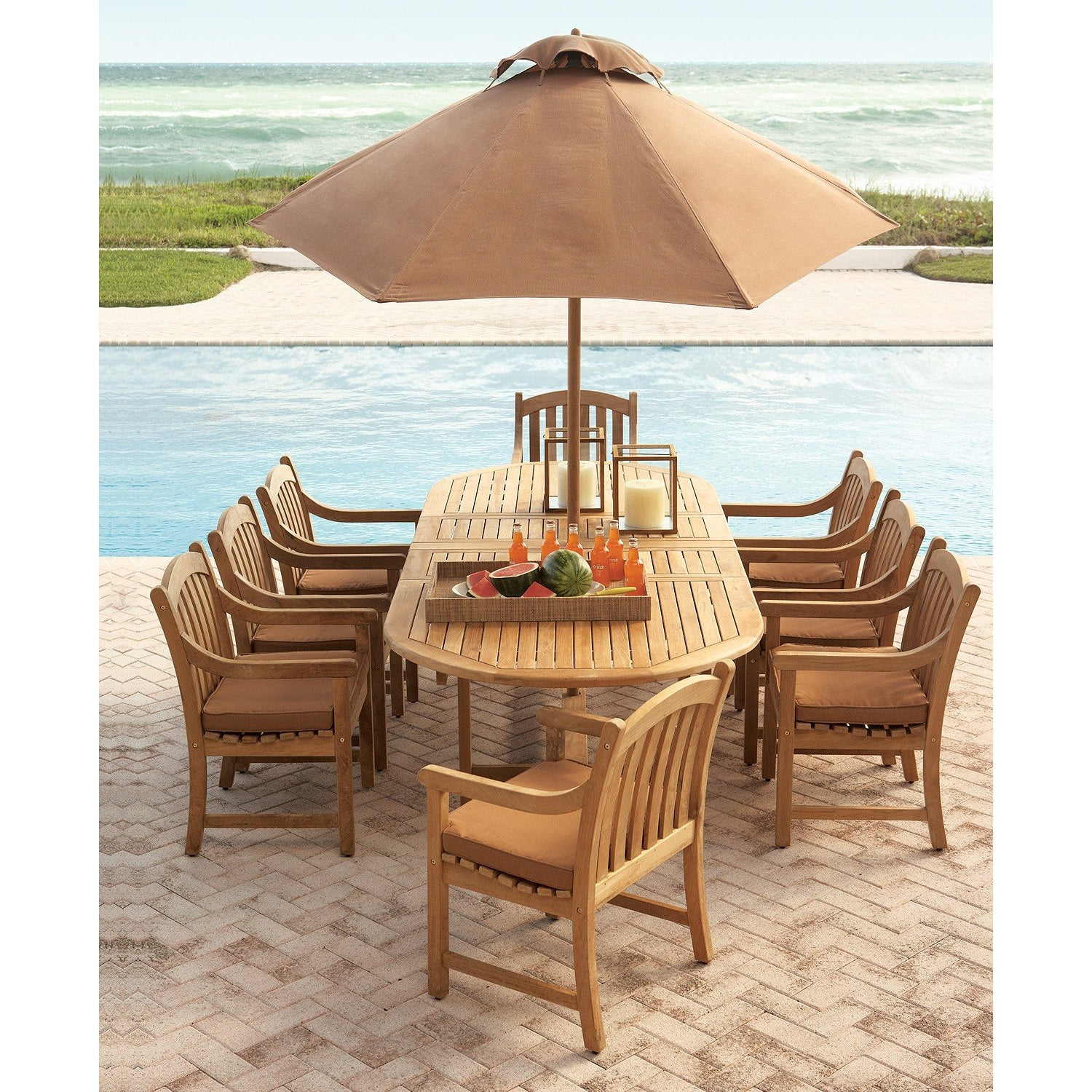 Harbour Teak Extendable 7-Piece Outdoor Dining Set (with 6 teak armchairs)