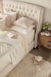 Sloan Standard King Bed in Cream Velvet
