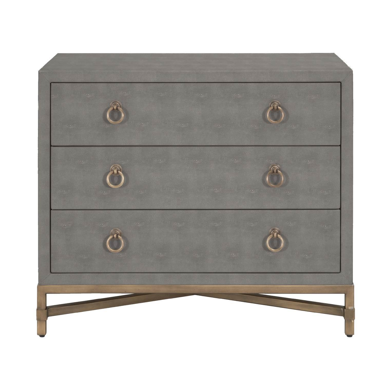 Strand Shagreen 3-Drawer Nightstand in Gray Shagreen