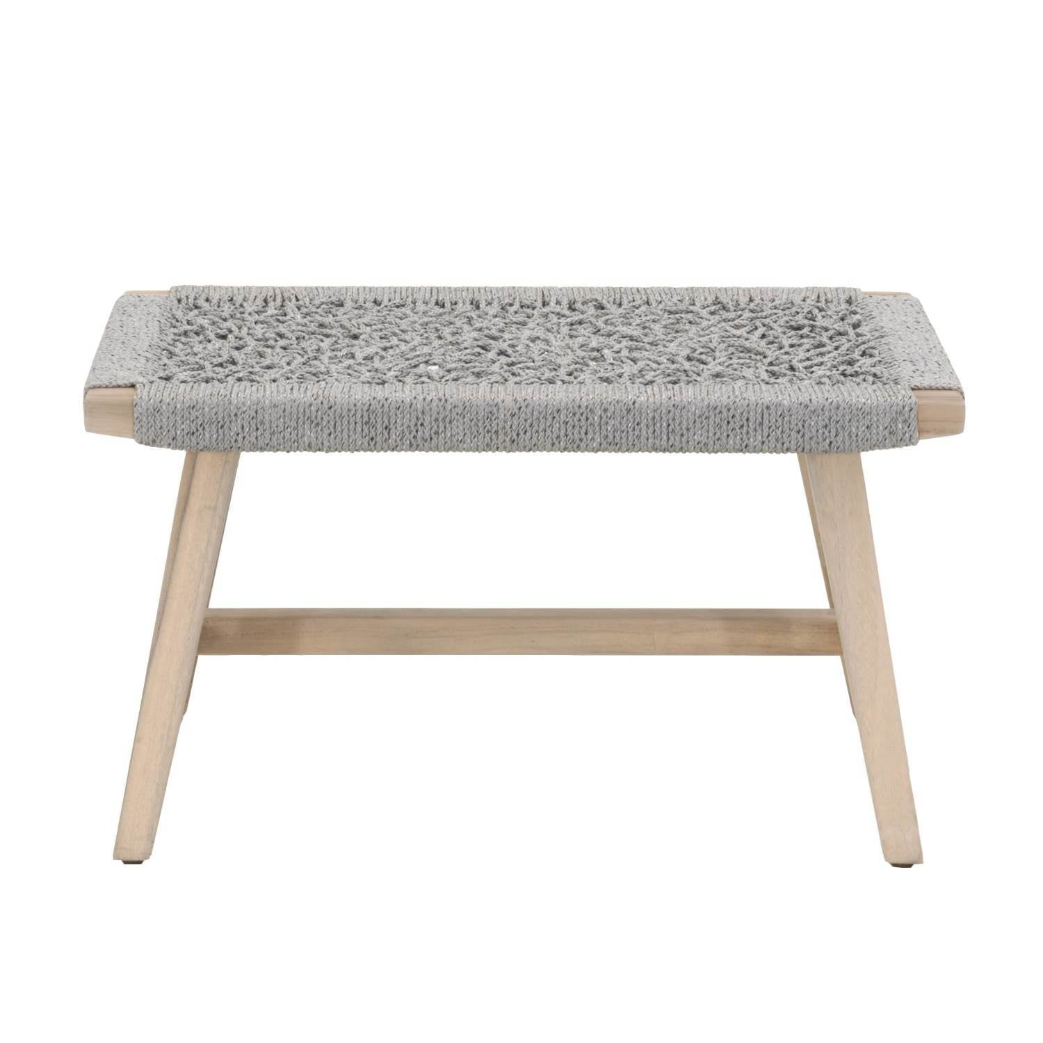 Weave Outdoor Accent Stool in Platinum Rope