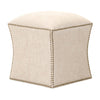 York Ottoman in Bisque French Linen