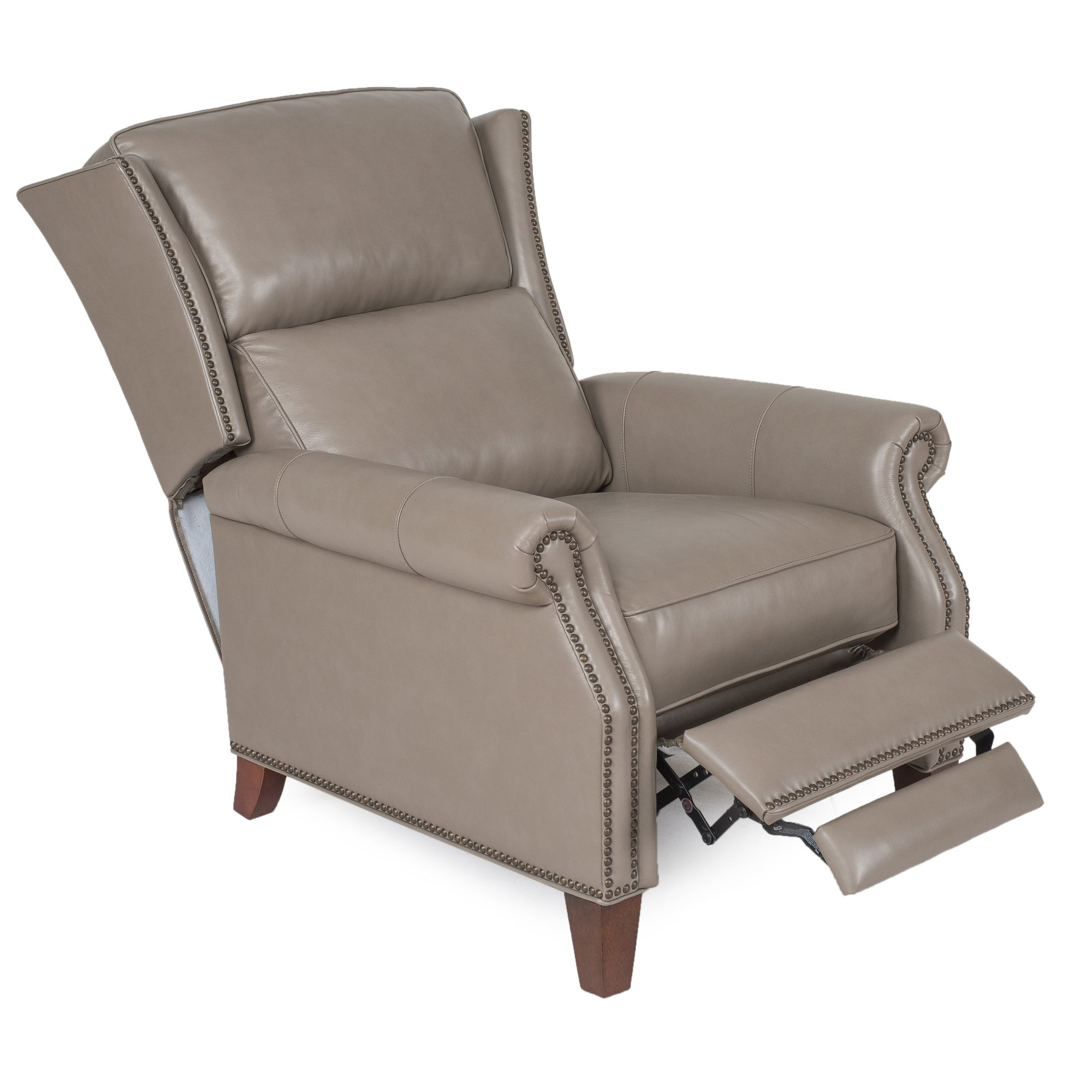 Taupe Top Grain Leather Recliner