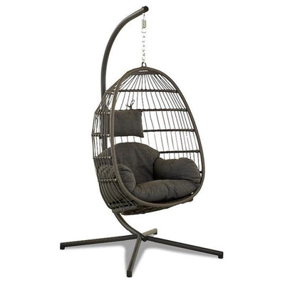 Outdoor Upholstered Wicker Patio Swing