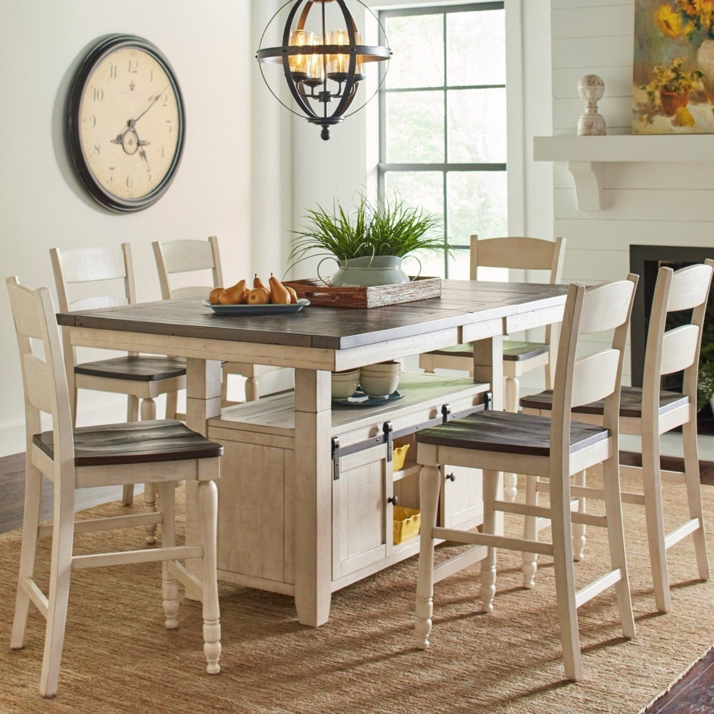 Urban Loft 7-Piece Hi-Lo Adjustable Height Dining Set in Vintage White
