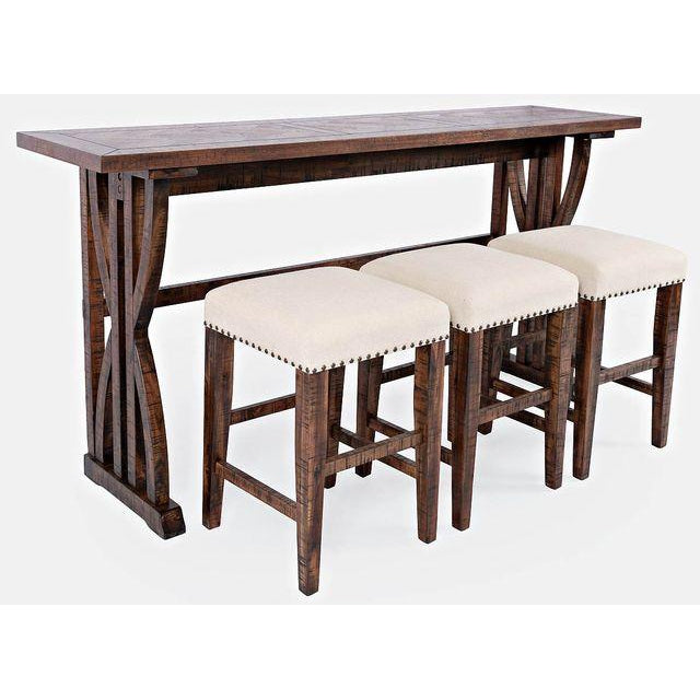 Chevron Oak Study Hall 4-Piece Console Dining Set