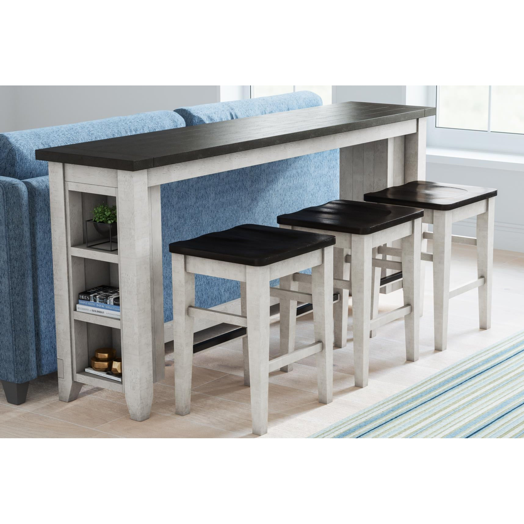 Urban Loft Console Table + 3 Stools Set