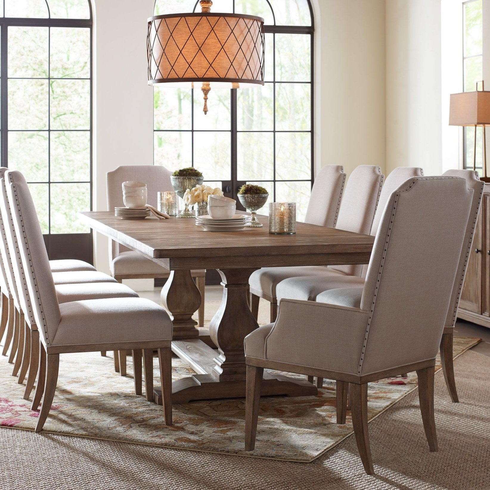 Monte Extendable Trestle Dining Table in Sun-Bleached Cypress