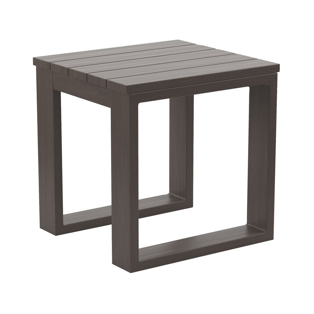 Sag Harbor Outdoor Aluminum Slatted Square End Table