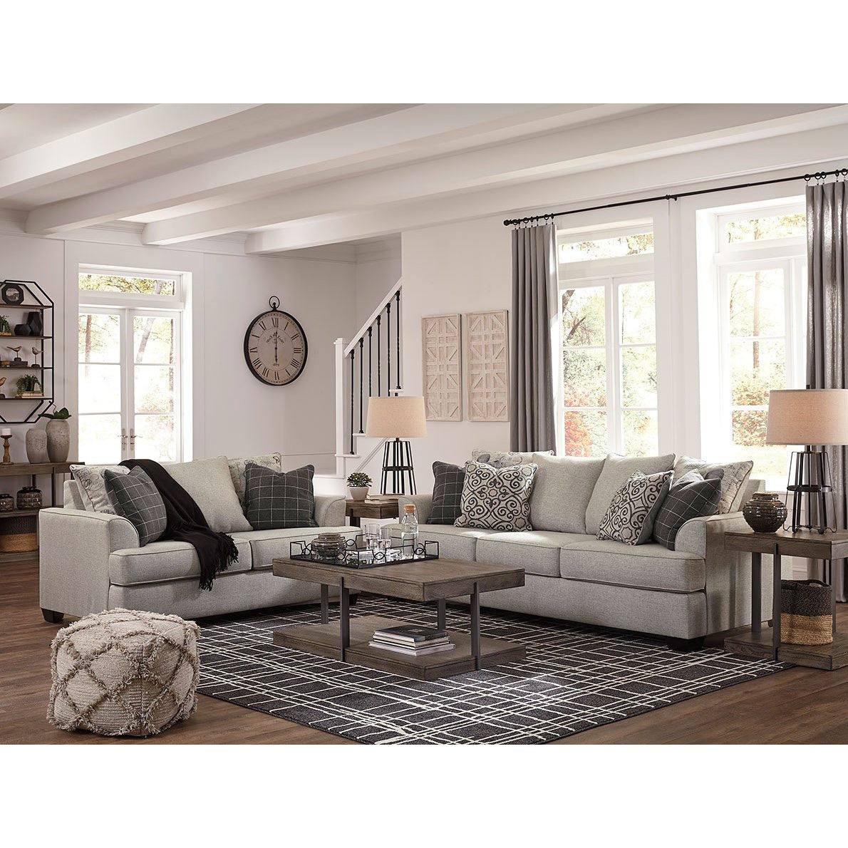 Velle Pewter Sofa and Loveseat Set