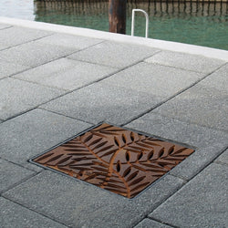 Locust Cast Iron Square Gully Cover 297mm (12 Inch), Manhole/Gully Covers - Lateral Design Studio