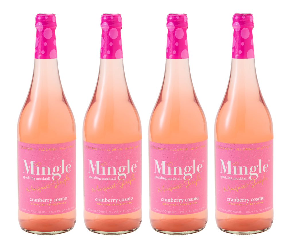 Mingle Mocktails Signature Cranberry Cosmo Sparkling Non-Alcoholic Cocktail - 4 Pack 750ml Bottles - LIMITED EDITION!