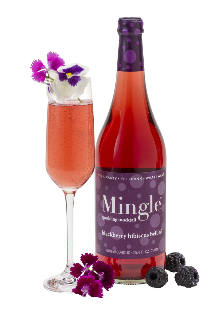 Mingle Mocktails 1 Blood Orange /1 Moscow Mule / 2 Bellini - Sparkling Non-Alcoholic Cocktail - 4 Bottle Variety Pack