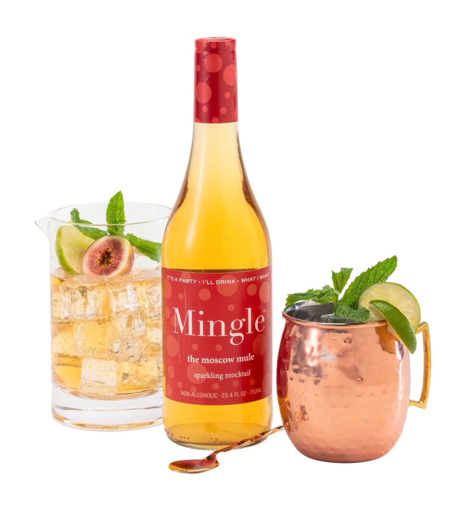Mingle Mocktails Cosmo / Mojito / Bellini / Moscow Mule / Sparkling Non-Alcoholic Cocktail - 4 Bottle Variety Pack