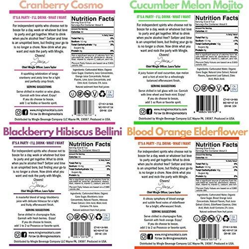 Mingle Mocktails Cosmo / Mojito / Blackberry Bellini / Blood Orange / Sparkling Non-Alcoholic Cocktail - 4 Bottle Variety Pack