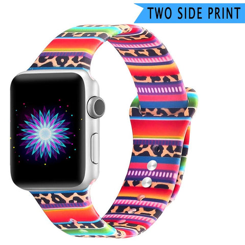 Double Side Print Flowers Silicone Band for Apple Watch