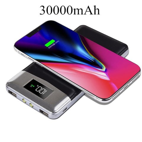 30000mAh QI Wireless, Dual USB External Battery Pack