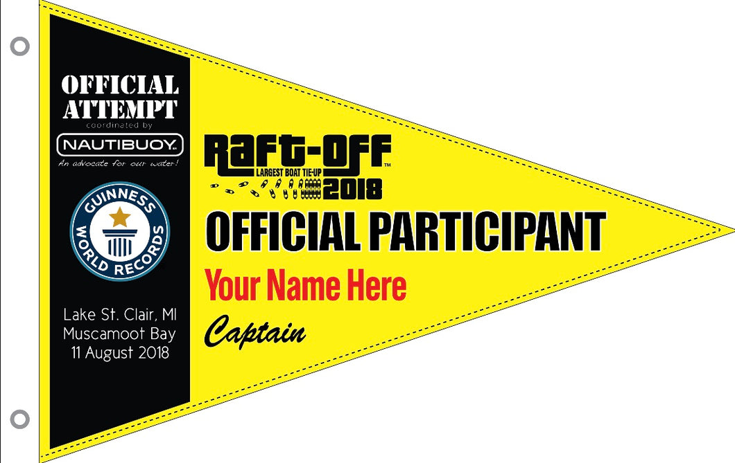 RAFT-OFF 2018 Personalized Commemorative Burgee (Boat Captain)