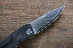 Takeshi Saji R2/SG2 Damascus Folding Knife Japanese Chef Knife 70mm with Carbon Fiber Handle