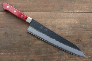Seisuke Blue Super Hammered Kurouchi Gyuto Japanese Knife 210mm with Red Pakka wood Handle