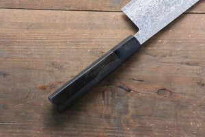 Yoshimi Kato VG10 Nickel Damascus Nakiri Japanese Chef Knife 165mm with Black Lacquered Handle with Saya