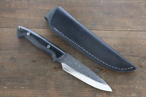 Takeshi Saji Blue Super Hunter Knife 110mm with Black Micarta