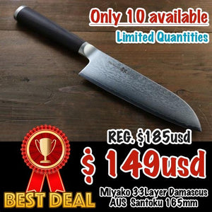 Miyako 33 Layer Damascus AUS-8a Japanese Santoku Knife, 165mm