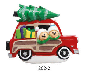 CAR W/ TREE FAMILY OF 2 - Express Ornaments