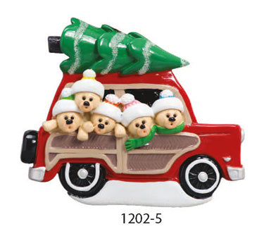 CAR W/ TREE FAMILY OF 5 - Express Ornaments