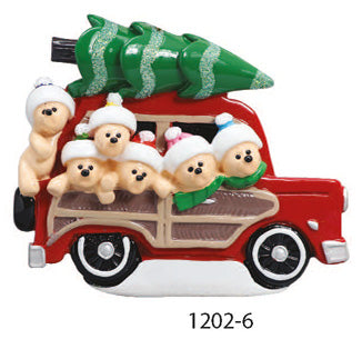 CAR W/ TREE FAMILY OF 6 - Express Ornaments