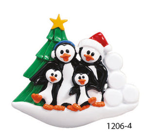 PENGUIN W/ TREE FAMILY OF 4 - Express Ornaments