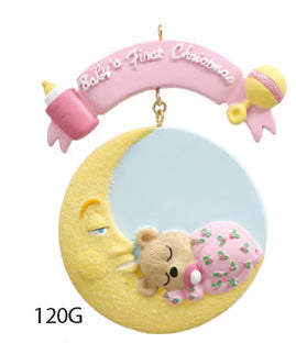 BABY 1ST CHRISTMAS PINK TEDDY BEAR - Express Ornaments