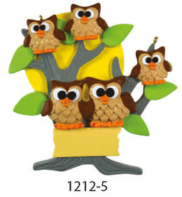 OWL TREE FAMILY OF 5 - Express Ornaments